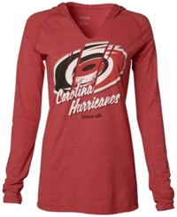Reebok Women's Long Sleeve Carolina Hurricanes Divided Hooded T Shirt Red