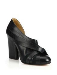 Maison Martin Margiela Twisted Leather Half D'orsay Stacked Heel Pumps Black