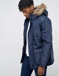 Jack And Jones Parka With Faux Fur Hood Navy