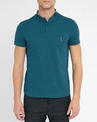 Carven Petrol Blue Short Sleeve Polo Shirt With Standing Collar And Bonhomme Logo