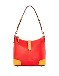 Dooney And Bourke Claremont Two Tone Leather Hobo Bag Red