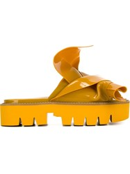 No21 Knot Detail Platform Sandals Yellow And Orange