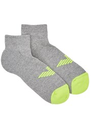 Emporio Armani Grey Logo Cotton Blend Socks