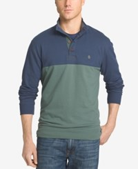 Izod Men's Big And Tall Jefferson Colorblocked Henley Duck Green