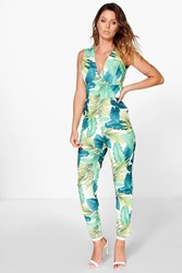 Boohoo Palm Print Cross Back Jumpsuit Multi
