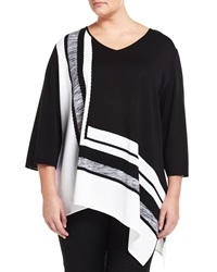 Misook Square Print V Neck 3 4 Sleeve Tunic Black White