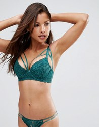 Wolf And Whistle Deep Green Lace Extreme Push Up Lace Bra Deep Green