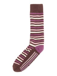 Elle Stripe Slipper Sock Gift Box Pink