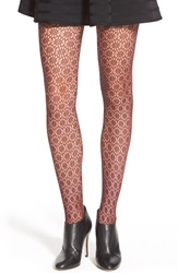 Chelsea 28 'Hex Floral' Lace Tights Burgundy Stem
