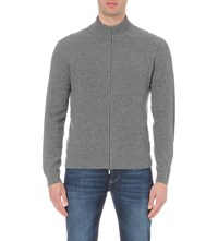 Canali Grid Zip Up Cashmere Jumper Grey