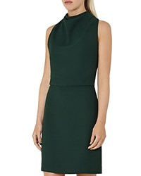 Reiss Sicily Lace Back Dress Bright Emerald