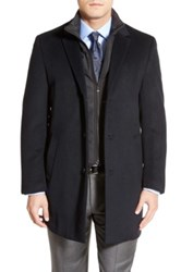 Hart Schaffner Marx 'Kingman' Classic Fit Wool Blend Coat With Removable Zipper Bib Blue