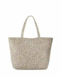 Neiman Marcus Woven Faux Leather Reptile Tote Bag Light Gray