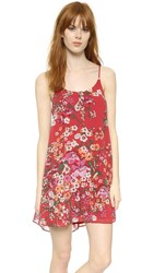 Wayf Swing Dress Red Botanical