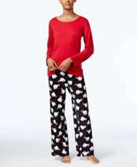 Charter Club Fleece Scoop Neck Top And Printed Pants Pajama Set Only At Macy's Red Polar Bear