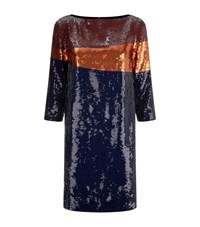 Tory Burch Justine Sequin Dress Female Navy