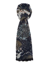 Pieces Tasselled Long Scarf Navy