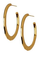 Argentovivo 18K Gold Plated Sterling Silver Hammered Flat Hoop Earrings Metallic