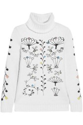 Peter Pilotto Berry Intarsia Angora Blend Turtleneck Sweater White