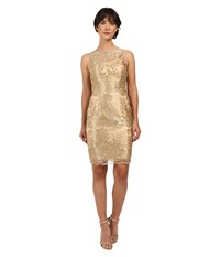 Adrianna Papell Sleeveless Embroidered Cocktail Gold Women's Dress