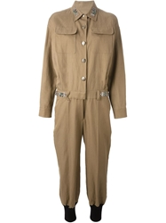 Sonia Rykiel Military Embellished Jumpsuit Nude And Neutrals