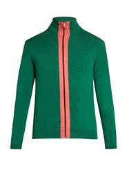 Paul Smith High Neck Zip Through Sweater Green Multi