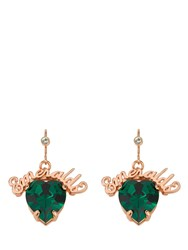 Mawi Emerald Slogan Heart Drop Earring Green