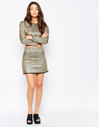 Jaded London Gold Quilted A Line Mini Skirt