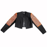 Carolina Ronderos Mola Waistcoat Jacket Black And Orange