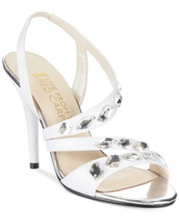 E Live At The Red Carpet Goldie Evening Sandals Women's Shoes White Sateen