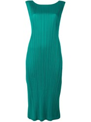 Issey Miyake Pleats Please By Boat Neck Fitted Dress Green