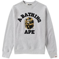 A Bathing Ape 1St Camo College Embroidery Crew Sweat Grey