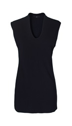 Tibi Crepe Fitted U Neck Tunic