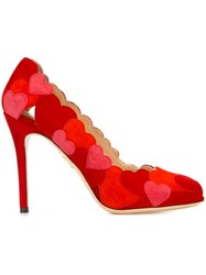 Charlotte Olympia 'Love Me' Applique Pumps Red