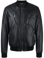 Dolce And Gabbana Quilted Detail Bomber Jacket Black