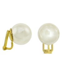 Majorica 18K Gold Over Sterling Silver Earrings Organic Man Made Pearl Clip On Earrings