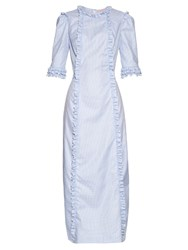 The Vampire's Wife Cate Cotton Midi Dress Light Blue