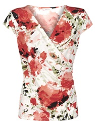 Kaliko Floral Wrap Top Red