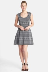 Tahari Jacquard Knit Fit And Flare Dress Gray