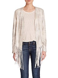 Sw3 Faux Leather Open Front Fringe Jacket Silver