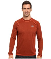 The North Face Long Sleeve Flashdry Crew Poinciana Orange Black Heather Men's Sweatshirt Brown