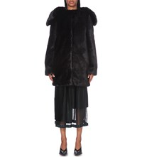 Stella Mccartney Shawl Lapel Faux Fur Coat Blk