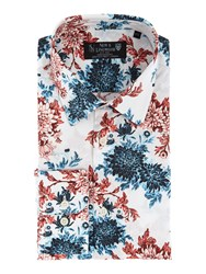 New And Lingwood Corby Floral Print Shirt Navy