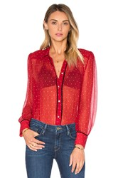 Frame Denim Le Peasant Polka Dot Top Red