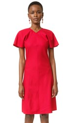 Nina Ricci Stretch Flannel Dress Bright Red
