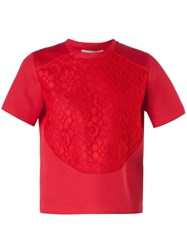 Christopher Kane Scuba Lace T Shirt Red