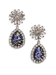 Dannijo Rayna Crystal Starburst Teardrop Earrings Royal Blue