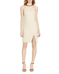 Ralph Lauren Leather Trim Halter Dress Beige Saddle