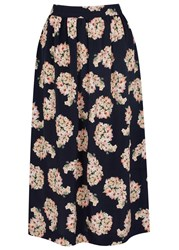 Mother Of Pearl Romily Navy Floral Print Silk Midi Skirt