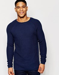 Solid Textured Knitted Jumper With Raglan Sleeves Blue